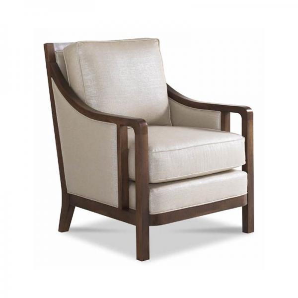 Cream Chair with Solid Wood Frame