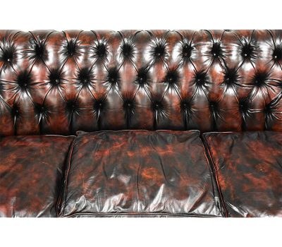 Dark Cherry and Red Leather Chesterfield