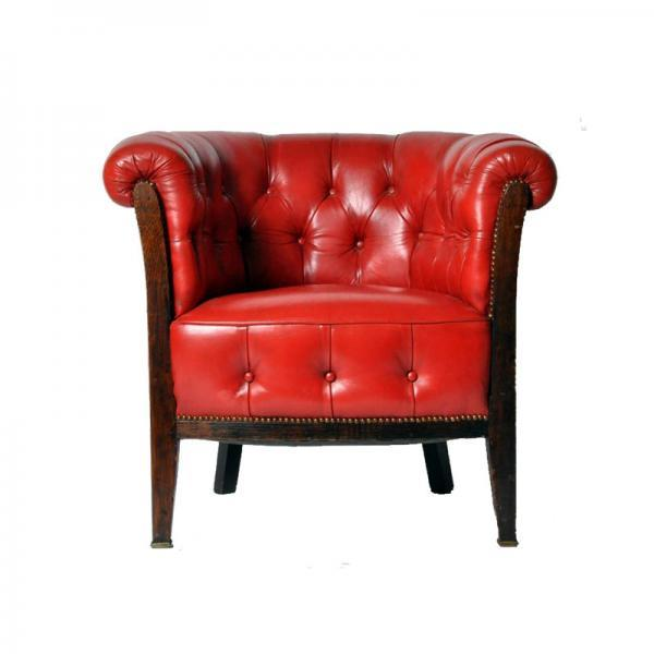 Red Leather Whiskey Barrell Chair