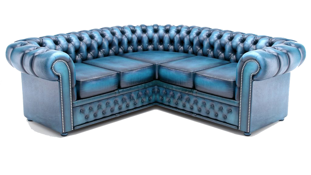 Blue Chesterfield Sectional