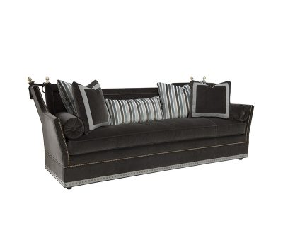 The Monarch is a Gray Velvet Sofa with Nailhead Trim