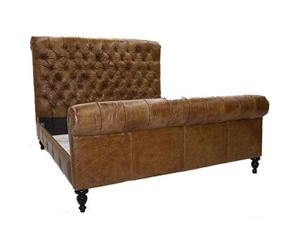 Tufted Brown Leather Chesterfield Bed